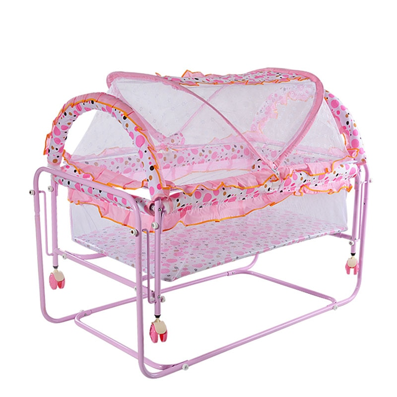 Portable Baby Metal Crib Bed Cot Baby Protection Newborn Rocking Crib Trolley with Netting Playpen Crib for Baby Rocker Game Bed enlarge
