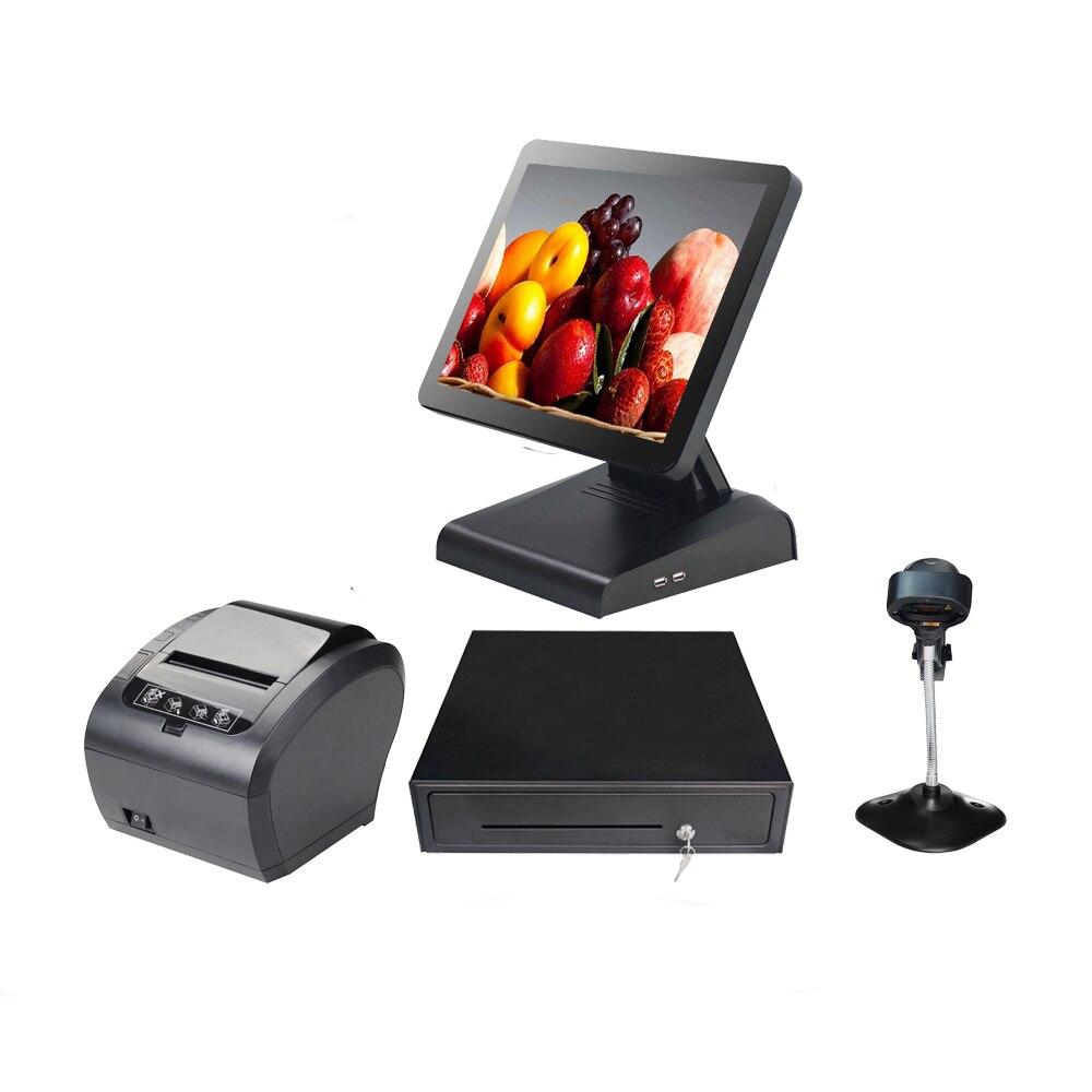 مجموعة كاملة من الكل في واحد آلة نقطة البيع LED شاشة LCD نظام نقاط البيع لمطعم صالون