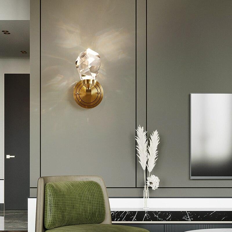 New 2021 Nordic Modern Crystal Wall Lamp Gold Living Room Bedroom TV Corridor Bathroom Wall Light Interior Home Decor Fixtures enlarge