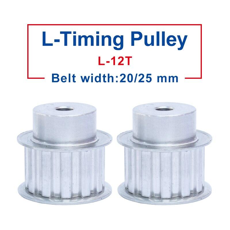 Largura material de alumínio do entalhe da polia L-12T mm do furo de processo 8 mm da polia do sincronismo jogo de 21/27mm com largura da correia do l-sincronismo 20/25mm