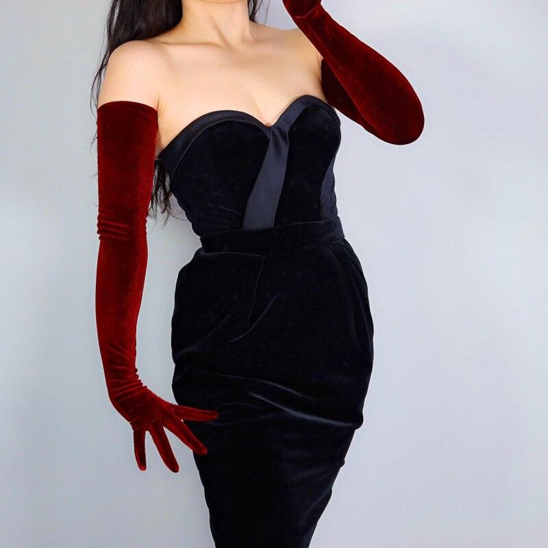 """2020 novas luvas de veludo 70cm 28 """"extra longo elástico escuro vermelho burgendy oxblood touchscreen feminino luvas de veludo wsr29"""