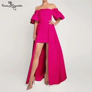 Fuchsia Prom Dresses with Detachable Train Off the Shoulder Satin Simple Formal Evening Dress Reception Gowns Vestido De Fiesta