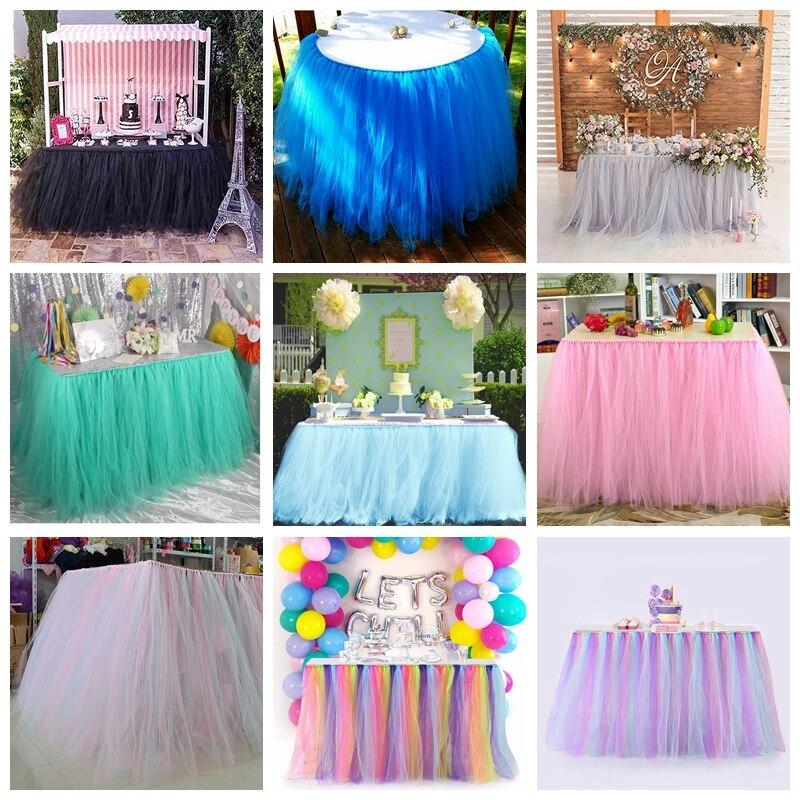 WALMD-تنورة طاولة ملونة مصنوعة يدويًا من التول ، توتو ، ديكور حفلات أعياد الميلاد ، الزفاف ، المنسوجات المنزلية