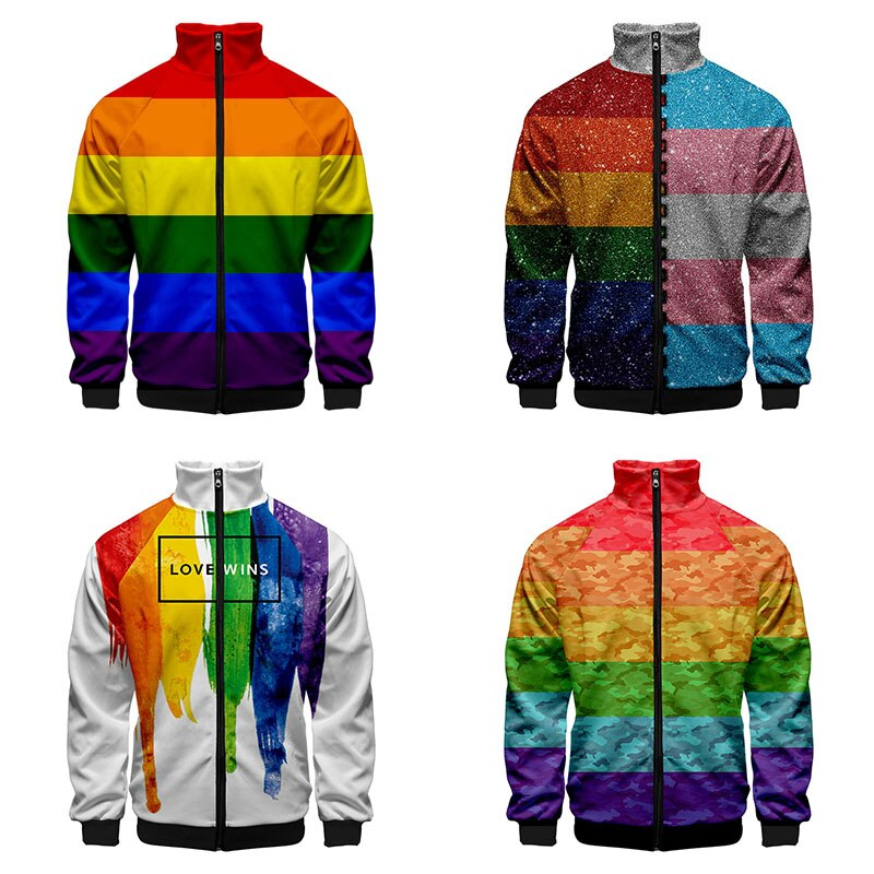 LGBT moda 3D Stand Collar Hoodies hombres mujeres Arco Iris bandera lesbianas gay cremallera Hoodie Casual manga larga ropa chaqueta abrigo