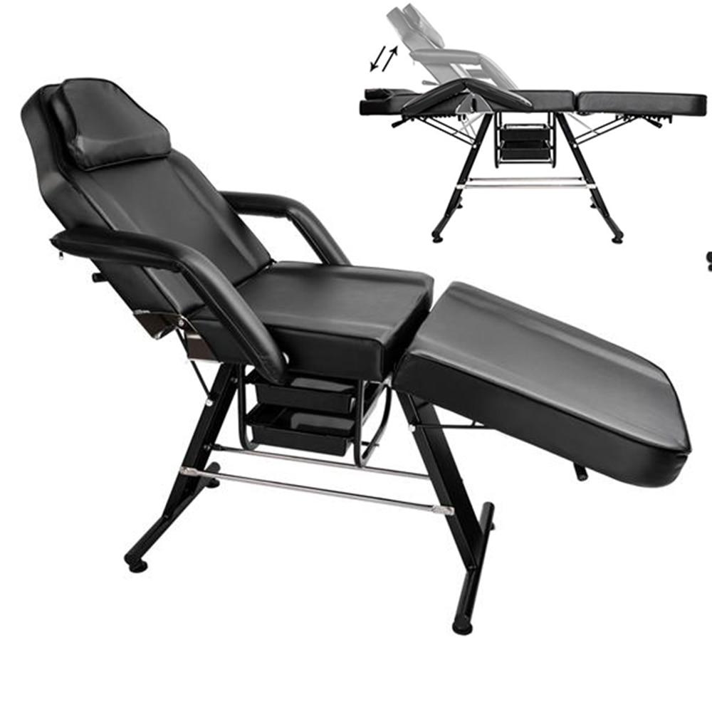 "Fortable 70 ""ajustable plegable portátil de aluminio del pie salón de belleza SPA masaje tatuaje equipo de cama negro"