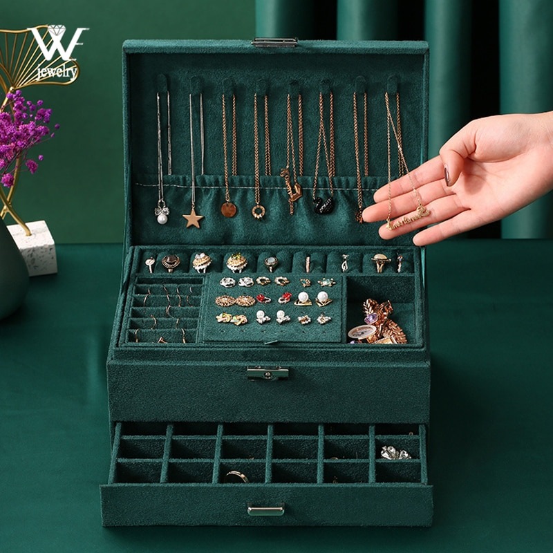 WE New 3-layers Green Stud Jewelry Organizer Large Ring Necklace Makeup Holder Cases Velvet Jewelry Box with Lock for Women
