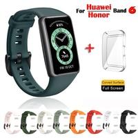 Ремешок силиконовый для Huawei Band 6, сменный Браслет из ТПУ для защиты всего экрана Honor Band 6