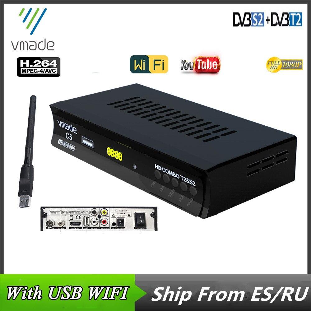 Caixa de tv Conjunto Digital Caixa Superior Receptor Satélite Combinado Dvb t2 s2 Suporte Youtube Usb Wifi Europa t H.264 Decodificador Dvb-t2 Dvb-s2
