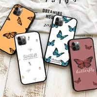 cute butterfly flower phone case for iphone 11 12 mini pro x xr xs max 6 6s 7 8 plus se 2020 soft silicon back cover tpu fundas