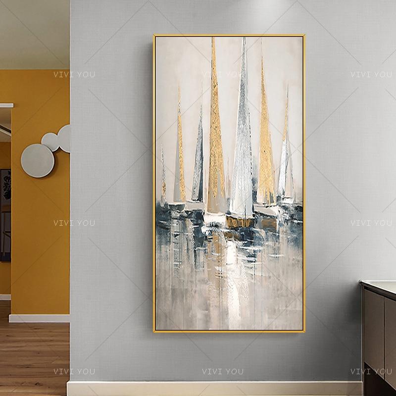 Bonito barco abstracto hecho a mano con imagen de mar colorida, imagen de pintura al óleo para pared para sala de estar, pasillo, decoración moderna para el hogar