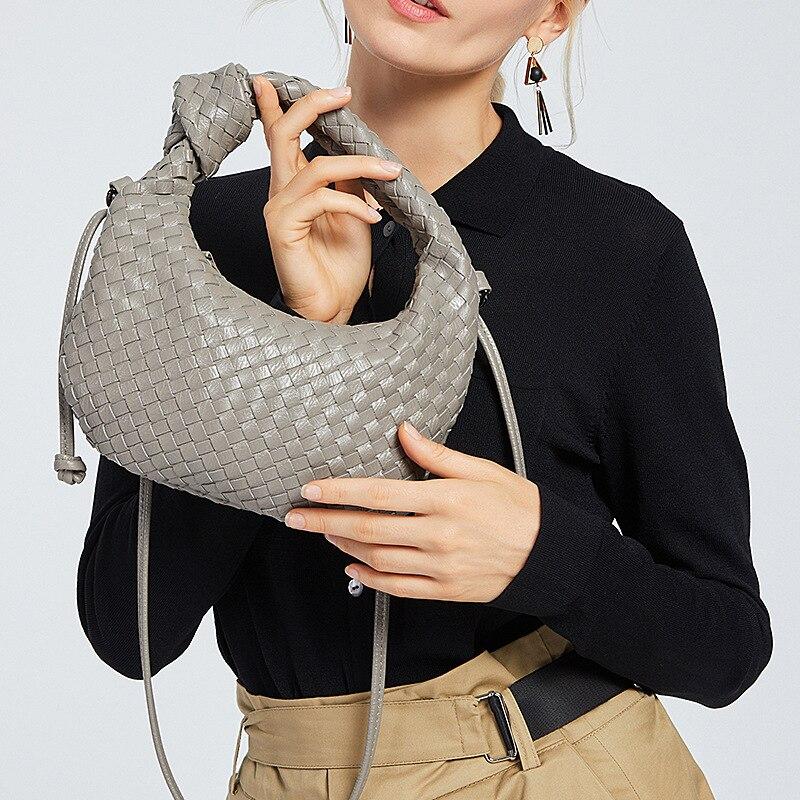 2021 Fashion Handmade Woven Handbag Luxury Woven Leather Printed Shoulder Bag Lady Crossbody Hobo Purse Luxury Designer 2020