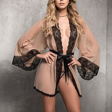 Mesh Kant Gewaden Voor Vrouwen Grote Plus Size Nachtkleding Effen Pyjama See Through Robe Sexy Lingerie Set Nachtjapon Bata De mujer