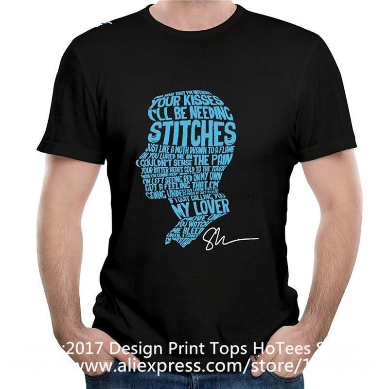 Camisetas de algodón a la moda, letras de puntos de tela ancha en la cara de Shawn Mendes, Camiseta de cuello redondo corta para hombre