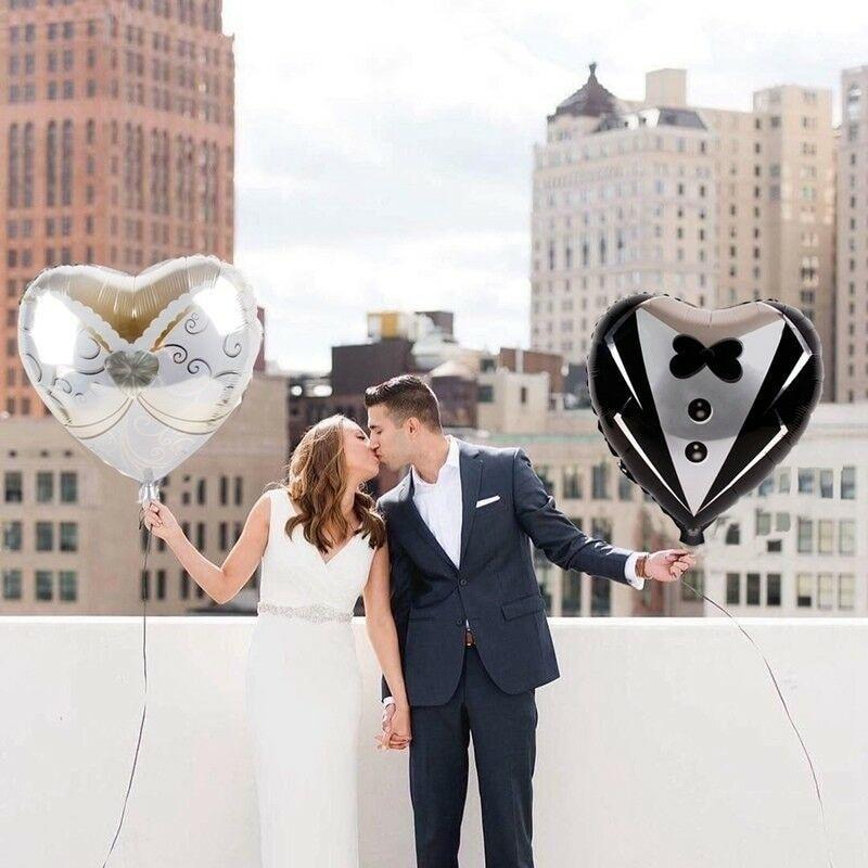2pcs Heart Foil Balloons Marriage Groom Bride Tuxedo Wedding Party Decor