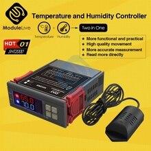 Dijital nem sıcaklık kontrol cihazı SHT2000 termostat Humidistat termometre higrometre buzdolabı SU ISITICI AC 110V 220V 10A