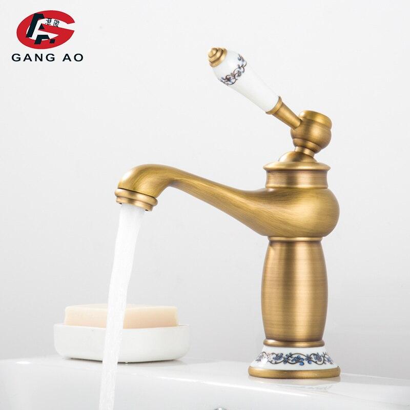 Grifo de baño antiguo con acabado de bronce, micrófono, lavabo de latón, lavabo, grifo mezclador de agua de una sola manija, grifo mezclador de agua, válvula mezcladora de agua