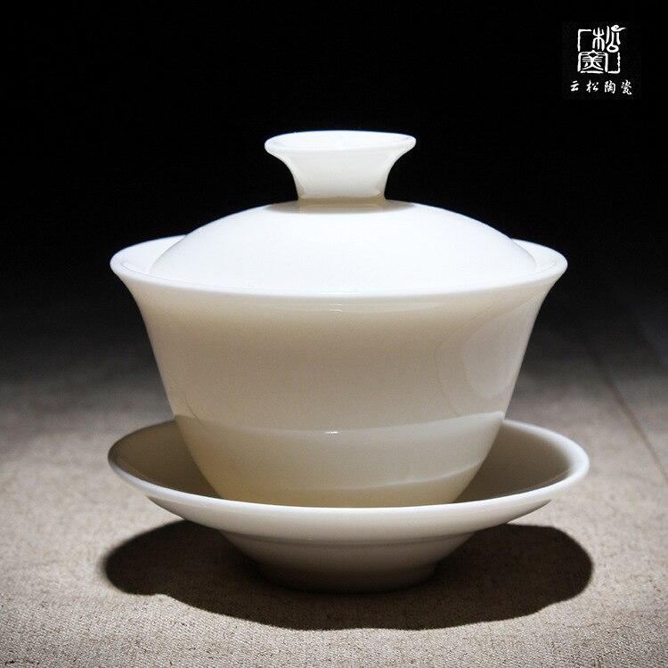 وعاء من البورسلين من اليشم ، طقم شاي أبيض من السيراميك من ديهوا ، وعاء عالي الجودة ، أبيض مكثف ، ثلاث قوة ، مع غطاء Gaiwan