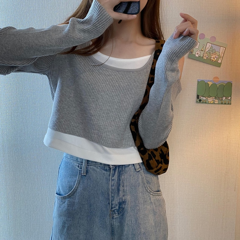 Fake Two-Piece Knitwear for Women Spring 2021 New Loose Outer Wear Design Sense Niche Fashion Wester