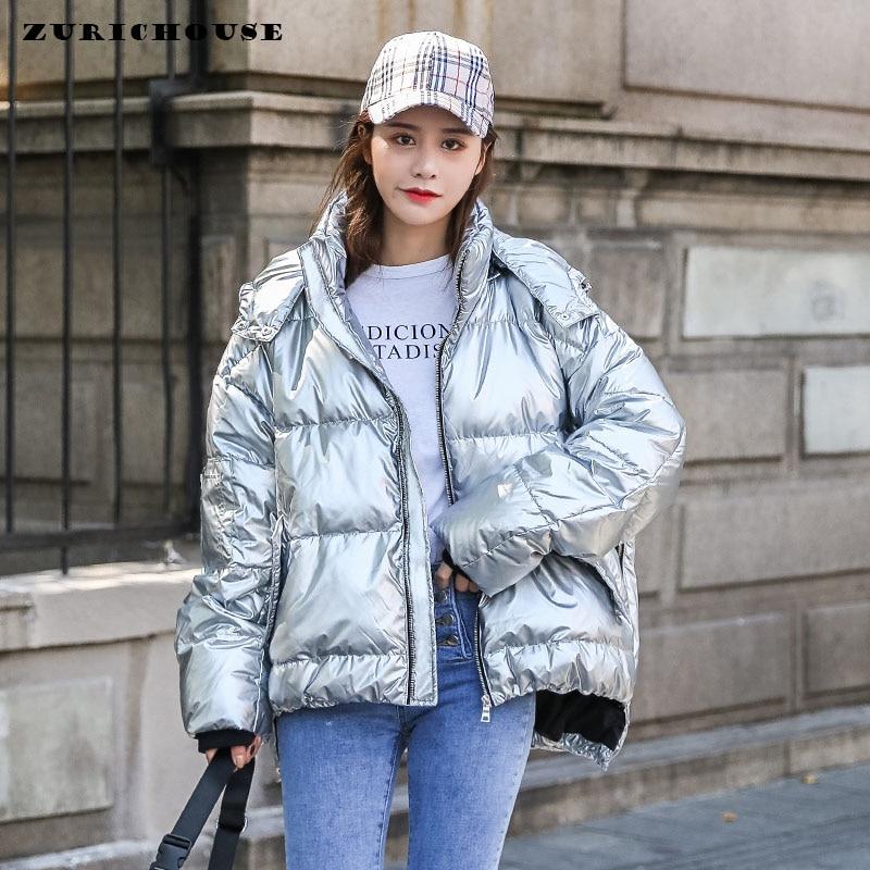 ¡Moda 2020! Chaqueta de invierno con capucha para mujer de ZURICHOUSE, abrigo de burbujas con relleno de Metal plateado brillante