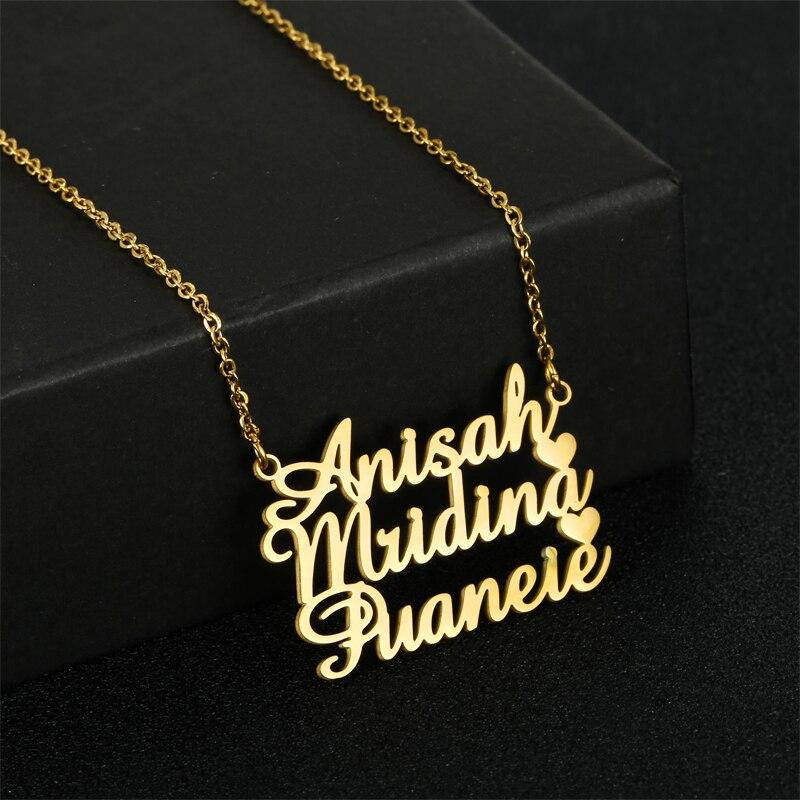 Ожерелье с именем на заказ, многослойное ожерелье из нержавеющей стали на заказ, ювелирные изделия с кулоном с буквами на заказ, подарок для ...