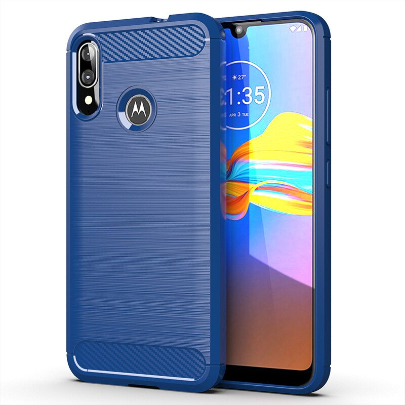 Soft Carbon Fiber Case For Motorola Moto E6 Plus Shockproof Bumper Full Protection Silicone Cover For Moto E6 Plus
