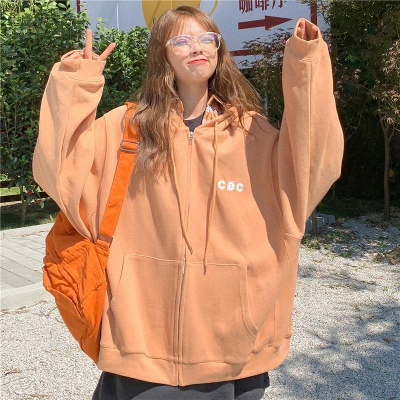 Hoodies Women Zip-up Hooded Pockets Loose Thickening Korean Style BF Ulzzang Harajuku Students Trendy Streetwear Oversize Womens