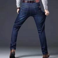 mens jeans elastic denim straight business loose jeans biker blue jeans work clothes men winter pants ripped jeans for men