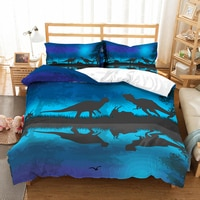 Dinosaur Theme Bedding Set Bedroom Decor Boys Gift 100% Microfiber Hypoallergenic with Zipper 1PC Duvet Cover with Pillowcases