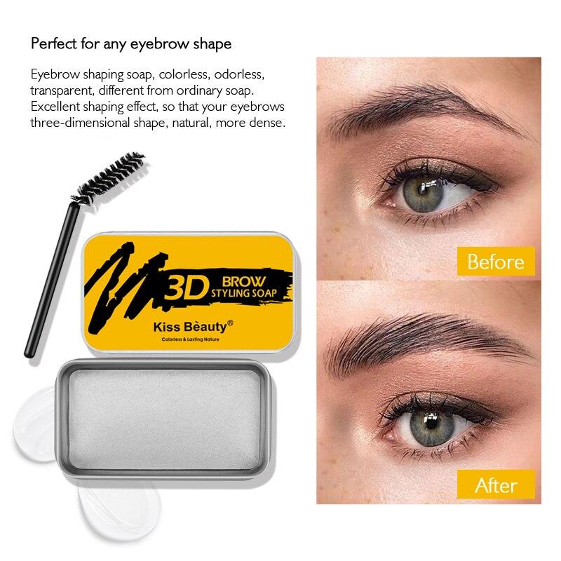3D Feathery Brows Setting Gel Waterproof Brow Makeup Kit Soap Natural Lasting Eyebrow Gel Women Eyebrow Tint Pomade TSLM1 недорого