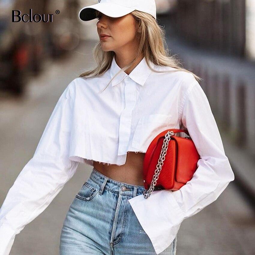 Bclout bureau haut court femmes Blouses Sexy col rabattu chemise blanche Flare manches Blouse femme automne Streetwear hauts à la mode