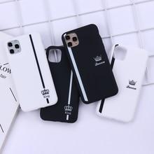 Чехол для телефона King Queen Crown в полоску для iPhone 11 12Pro Max X XS XR 7 8 7Plus 8Plus 6S SE, мягкий силиконовый чехол, Fundas