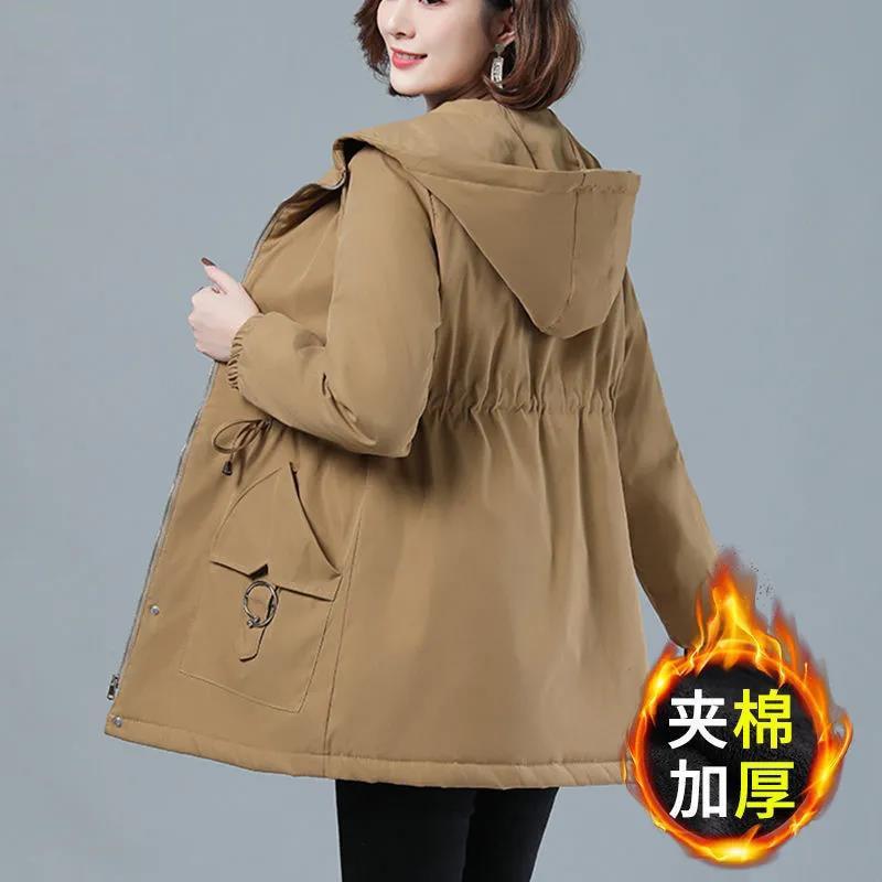النساء وسادة مبطنة الشتاء سترة واقية أنيقة ملابس خارجية M-4XL منتصف طول معطف 2021 جديد سميكة فضفاضة معطف مقنع الإناث