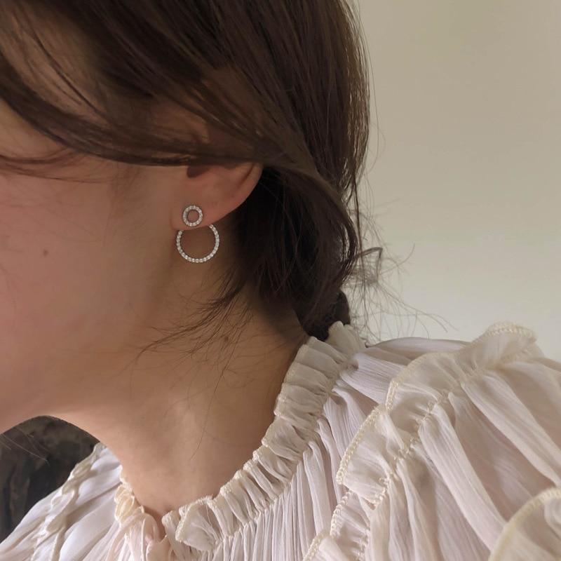 Micro effen zirkoon voor- en achterkant cirkel oorknopjes voor - Mode-sieraden - Foto 6