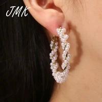 jmk trendy tiny pearl twist hoop earrings 18k gold exquisite bead romantic elegant jewelry for women bridal wedding party gift