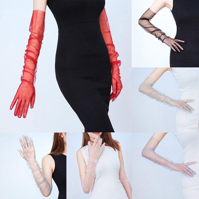 Nuevo guantes de encaje sensuales protector solar de verano largo de dedo completo para pantalla táctil guantes guante de conducción hermosos guantes hilo de malla chica