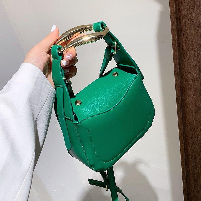 Metal Handle PU Leather Saddle Crossbody Bags for Women 2021 Summer Mini Shoulder Bag Ladies Branded Luxury Handbags And Purses