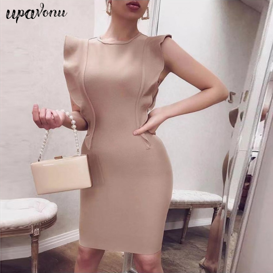 Vestido de fiesta elegante con volantes de rayón y cuello redondo sin mangas Sexy para mujer 2019