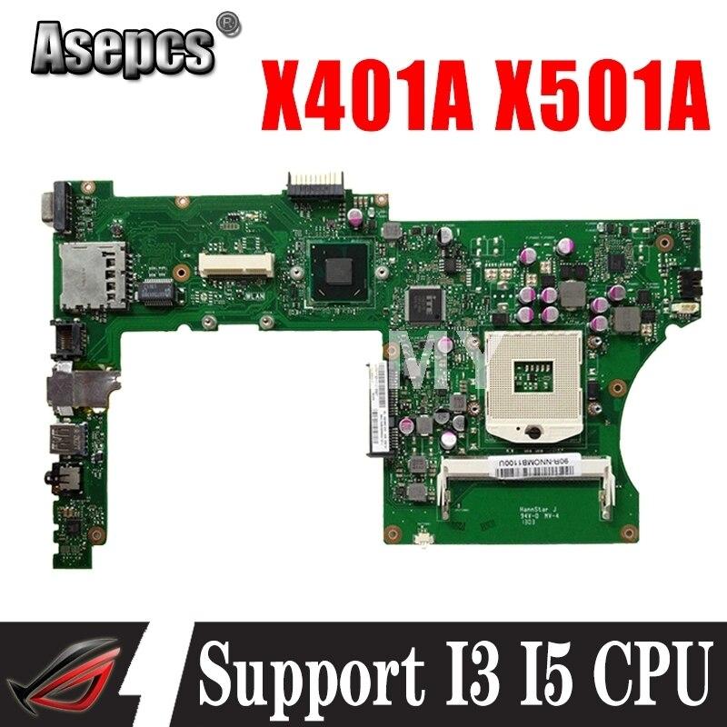 Akemy ل Asus X401A X501A اللوحة الأم للكمبيوتر المحمول X401A X501A اللوحة الرئيسية اختبار دعم I3 I5 وحدة المعالجة المركزية