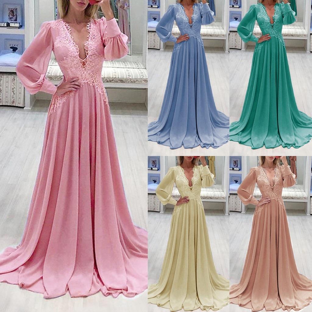 Ropa mujer vestidos plus größe kleid frauen Sexy Feste Farbe Lange Hülse Spitze Chifon Lange Voll winter kleid sukienki robe femme