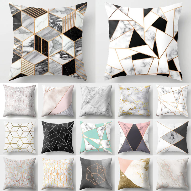 Decorative Cushion Cover Pillow Case Geometric Printed Polyester Throw Pillow Decor for Home Decorat
