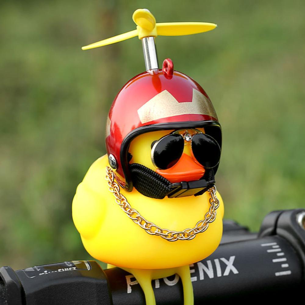 Unique Cute Standing Duck with Helmet Broken Wind Small Yellow Duck Road Bike Motor Helmet Riding Cycling Home Decor Figurines