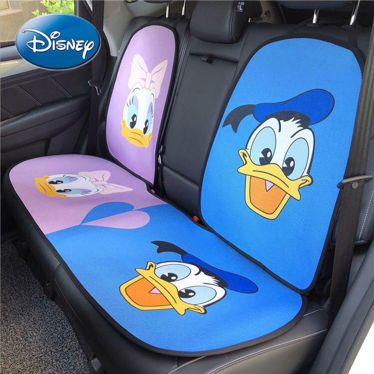 Disney Donald Duck Car Headrest Creative Breathable Linen Cushion Car Summer Cool Cushion Daisi Cartoon Cervical Pillow