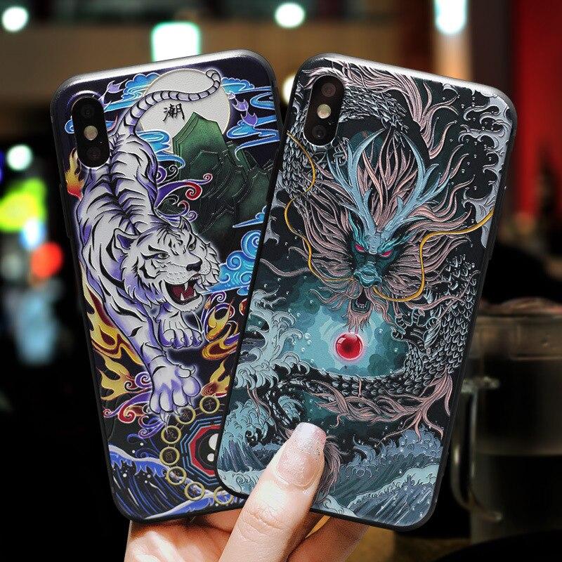 Para iPhone XR XS 11 Pro Max X 8 7 Plus 6 6s + funda nueva 3D relieve dragón patrón de tigre mate suave contraportada para iPhone 11 funda