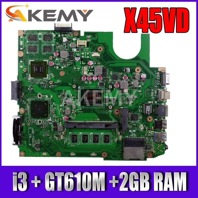 اللوحة الأم لأجهزة الكمبيوتر المحمول X45VD لأجهزة الكمبيوتر المحمول ASUS X45V X45VD اللوحة الأم 100% اختبار ث/GT610M وحدة معالجة الرسومات + 2GB RAM + i3 CPU