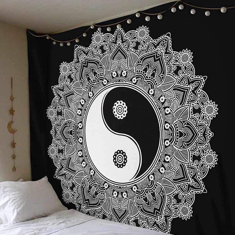 Lannidaa 148x148 cuadrado Yin Yang Mandala tapiz colgante de pared Mandalas Tapisserie imagen en la pared tapiz manta Toallas de playa