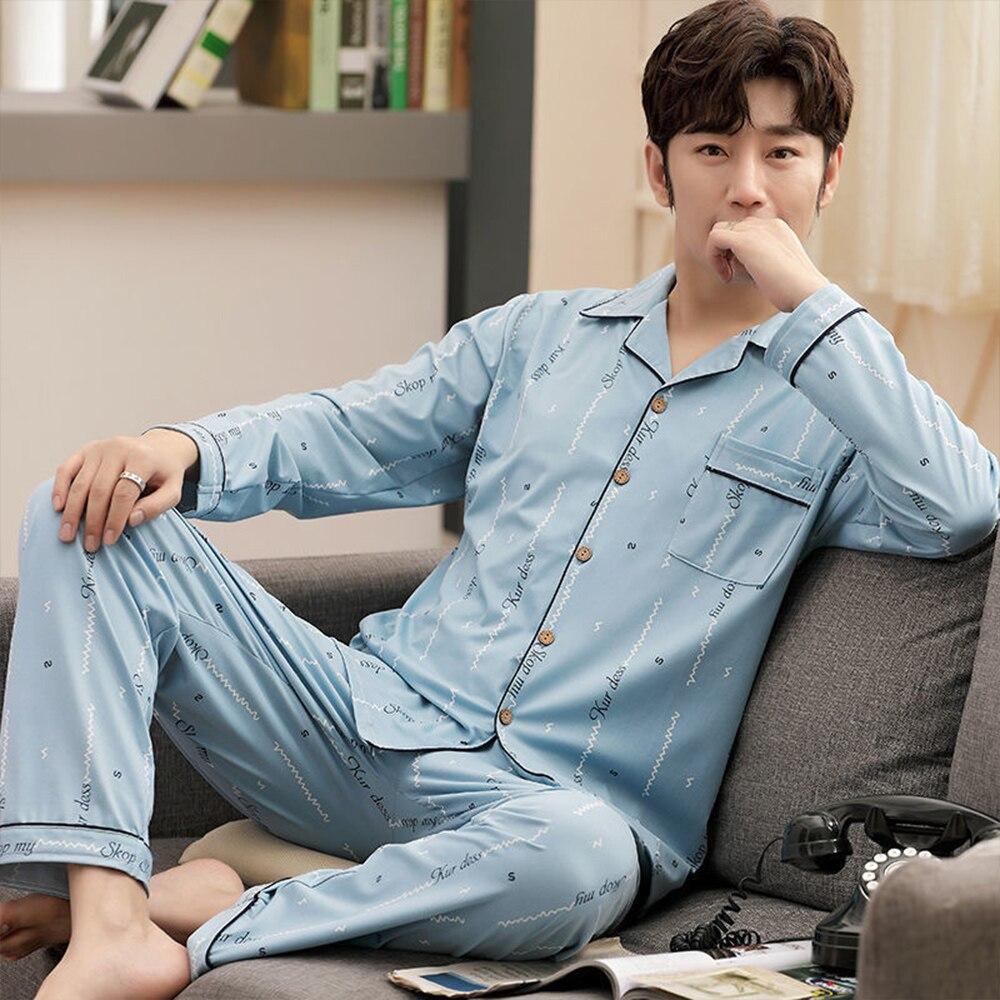 Plus Size 5XL Casual Striped Cotton Pajama Sets for Men Long Sleeve Long Pants Sleepwear Pyjama PJ Print Pijama Hombre Invierno