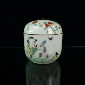 Chinese old porcelain  Pastel Baby Play Figure pattern cans Receiving Tank Cover can