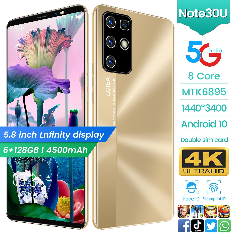 New Arrival 2021 5.8 Inch Cheap Smart Phone NOTE30U 6+128GB Face Fingerprint ID Andriod 10 Double SIM Mobile Phone Celular Black enlarge