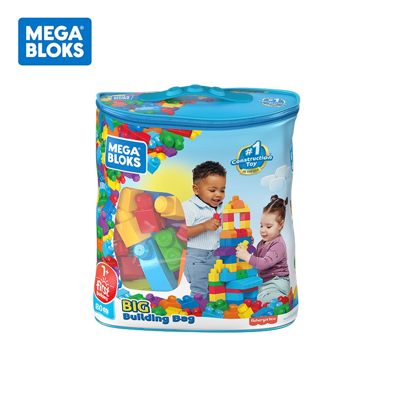 80Pcs Mega Bloks First Builders Big Building Bag with Big Building Blocks Building Toys Educational Toys Toddlers Children Gift