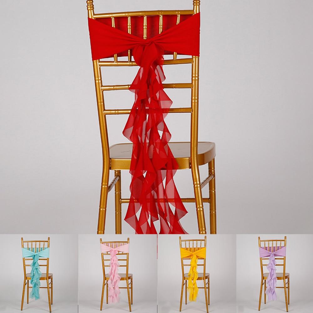 Gasa elástico cinta de silla espalda bandas de lazo Flounce SILLA DE desmalezación Sash pajarita para boda Banquete de ceremonia decoración para Sillas
